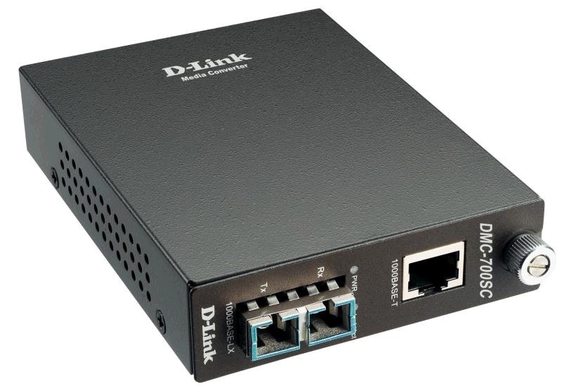 D-Link DMC-810SC/B8A, 1000Base-T Gigabit Twisted-pair to 1000Base-LX Gigabit Fiber Single-mode Fiber (10km, SC) Media Converter Module